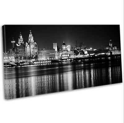 £29.99 • Buy Canvas Print Liverpool Skyline Over The Mersey Panoramic Framed Art Picture B&W