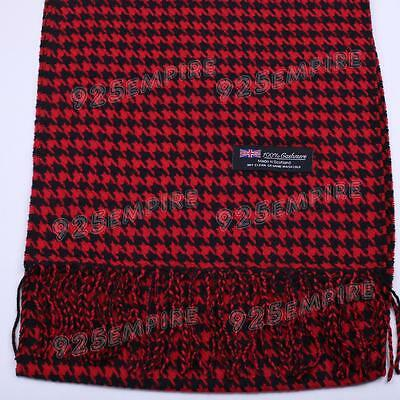 £4.95 • Buy Women 100% CASHMERE Red/Black Houndstooth Scarf MADE IN SCOTLAND