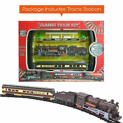 £9.99 • Buy Classic Battery Operated Train Set With Tracks Light Engine Children Kids Toy