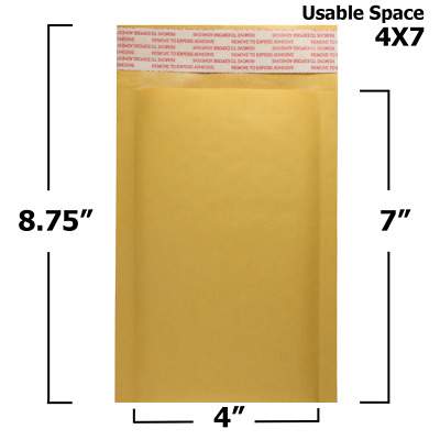 $8.99 • Buy 25 Pack - 4  X 7  #000 Kraft Bubble Mailers Padded Envelopes - Made In USA