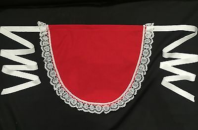 Red Xmas Apron With Deluxe White Lace Edge Half Waist Serving Pinny • 3.25£