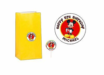 $2.99 • Buy 20 Mickey Mouse 2 Inch Sticker Party Bag Tag Favor Lollipop Personalized