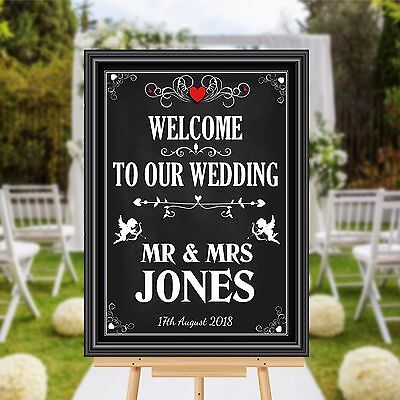 Personalised Welcome To Our Wedding Sign Banner Print N110 Chalkboard Style • 18.99£