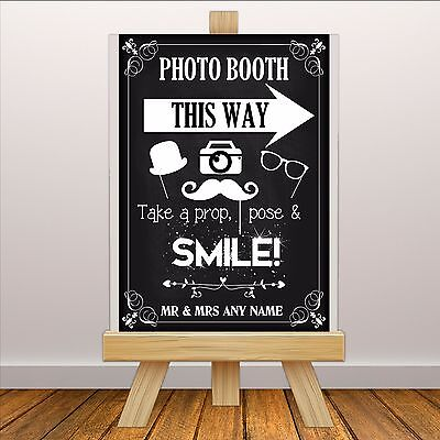 Personalised Vintage Wedding PHOTO BOOTH Sign Banner Print N113 Chalkboard Style • 7.99£