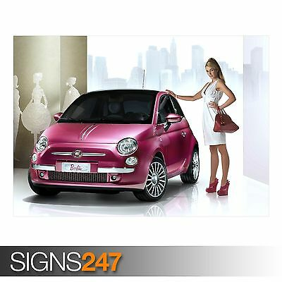 FIAT 500 BARBIE (AA768) CAR POSTER - Photo Picture Poster Print Art A0 To A4 • 6.25£
