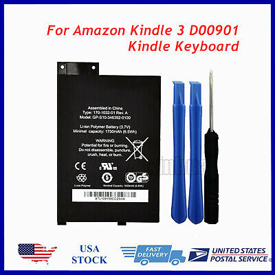 $18.90 • Buy 2018 NEW Battery For Amazon Kindle 3 3G Ⅲ Keyboard Graphite D00901 EReader -USA