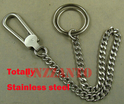 Handmade Stainless Steel Fob Wallet Key Chain Ring Holder Belt Hook Clip • 9.99£