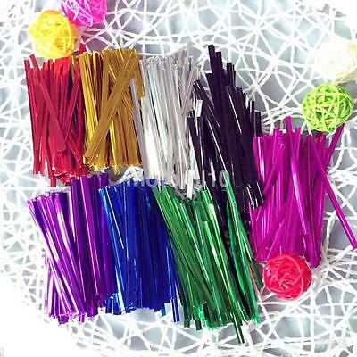 800X HOT Metallic Twist Ties Wire For Cake Candy Cookies Packed Bag Seal String • 2.64£