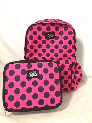 c7fe6163f0fe Justice Girls Backpack Lunch Box Set Canvas Hot Pink Polka Dot Super Cute!  Nwt •