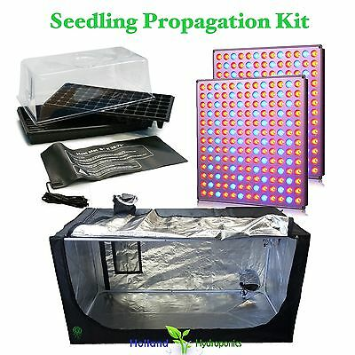 AU165.90 • Buy LED Panel Propagation Cloning Seedling Kit Heat Mat Grow Tent Hydroponic​s Setup