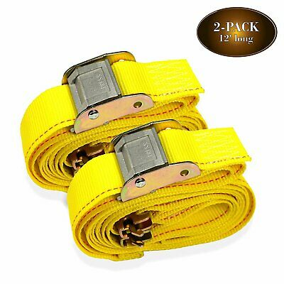 $18.99 • Buy Manufacturer Direct! 2 E-Track Straps, 2  X 12' Cam Buckle Cargo Tie-Down Straps