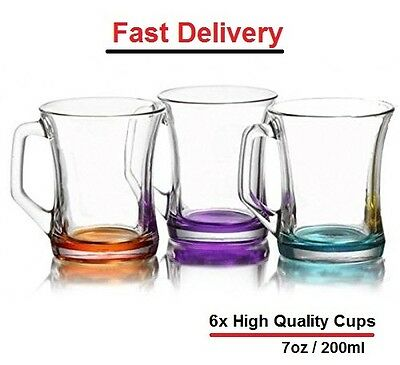 Set Of 6 Coloured Glass Tea Coffee Cappuccino Cups Hot & Cold Drink Mugs - Gift • 12.49£