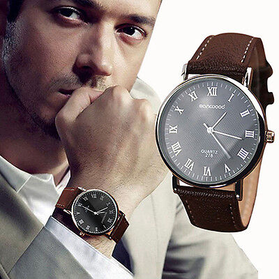 Men's Black Dial Contemporary Analogue Quartz Watch With Grained Leather Strap • 8.95£