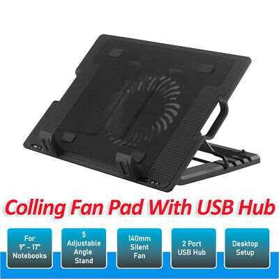 AU15.99 • Buy Laptop Cooling Fan Notebook Cooler Stand USB Fan Pad With USB Hub AU Stock