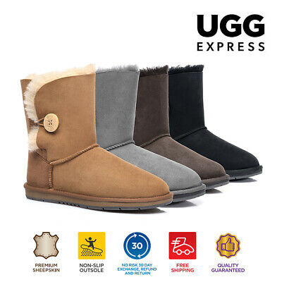 AU92 • Buy UGG Women Short Classic Button Boots -Australian Premium Sheepskin Wool Non-Slip