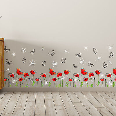 £11.99 • Buy Swarovski Crystals Poppy Flowers Skirting Decals Home Spring Decor Wall Stickers