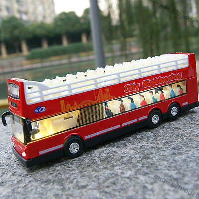 $ CDN26.17 • Buy Open-air Double-decker Sightseeing Bus Model Car Toy 1:66 Diecast Kids Gifts Red