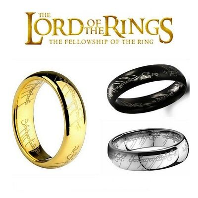 AU5.75 • Buy NEW Hobbit Lord Of The Rings Gold Silver Black Elvish Rune Engraving Ring Band