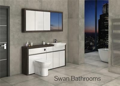 £1355 • Buy Mali Wenge / White Gloss Bathroom Fitted Furniture With Wall Units 1700mm