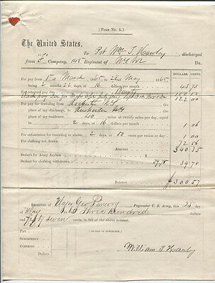$499.86 • Buy Civil War Documents, 148th, N.y. Discharge Papers And Pay Voucher, 1865.