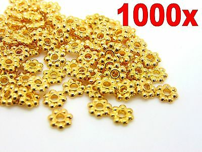 £1.89 • Buy 1000Pcs Gold Plated Daisy Spacer Beads Jewellery Craft Bead Findings 4mm & 6mm