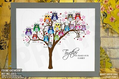 Personalised FAMILY TREE Owl Mothers Day Print Canvas Gift Keepsake • 9.99£