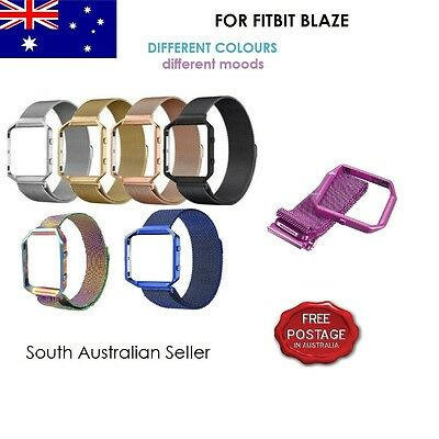 AU7.50 • Buy Magnetic Milanese Stainless Steel Strap Band & Frame For FITBIT BLAZE SA SELLER