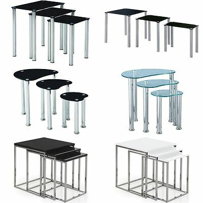 Nest Of Tables Aztec Cara Luna Neptune 3 Set Unit Glass Stainless Steel Side End • 40.90£