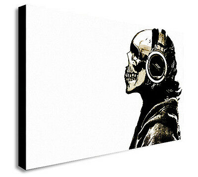 DJ SKULL BANKSY Canvas Wall Art Framed Print. Various Sizes  • 22.99£
