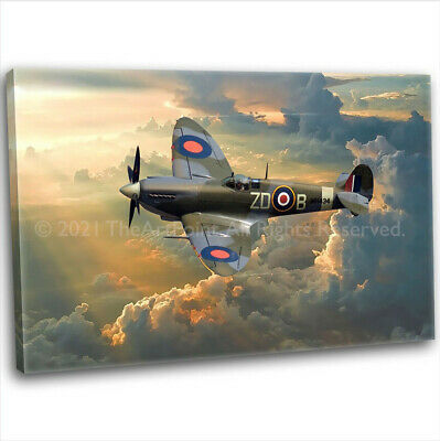 £29.99 • Buy RAF WW2 Military Spitfire Canvas Print Framed Digital Painting Art Picture (3)