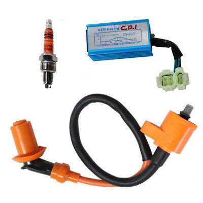 Racing Ignition Coil + Spark Plug + CDI Box For GY6 50cc-150cc Sctooer 4-Stroke • 10.42$