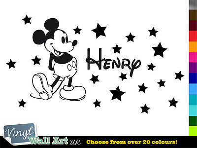 Personalised MICKEY MOUSE Disney Boys Name + Stars Vinyl Wall Art Sticker Decal • 5.89£