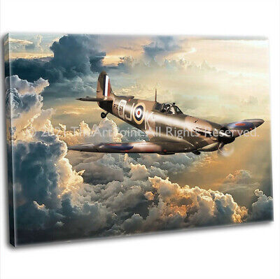 £29.99 • Buy RAF WW2 Military Spitfire Canvas Print Framed Digital Painting Art Picture (4)