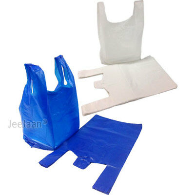 Plastic Carrier Bags Strong & Medium  Vest Shopping Supermarket  [all Sizes] • 3.99£