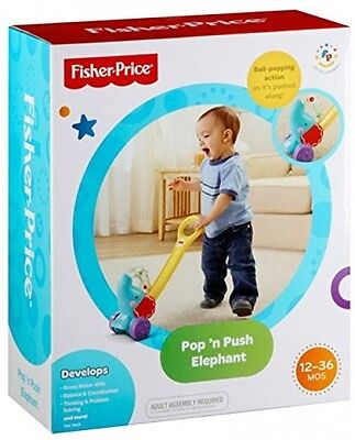 Fisher Price Pop 'n Push Elephant Pull Along Toy For Baby Toddler - New • 29.95£
