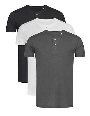Mens GREY BLACK WHITE Short Sleeve Grandad Henley Buttoned T-Shirt Tshirt • 9.55£
