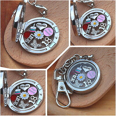 Personalised BIRTHDAY Floating Memory Locket Keyring -For Daughter Friend 21st.. • 5.99£