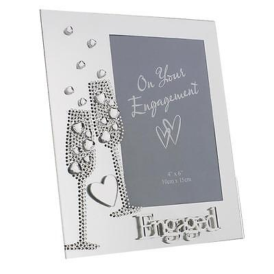 Glass Photo Frame / Gem Champagne Flutes / Mirror Letters - Anniversary Engaged • 6.99£