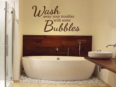 Bathroom Wall Quote - Wash Away Your.. Wall Art Sticker, Decal, Modern Transfer • 15.95£