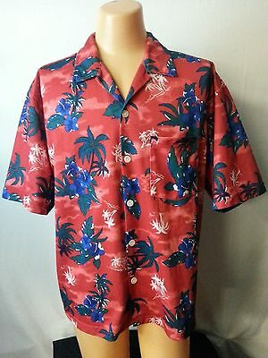 Men OTB On The Brink Red Hawaiian Shirt Top Floral Blue Palm Trees Net Lining L • 10.45£