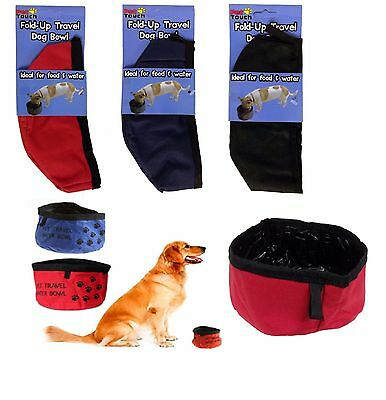 Pet Touch Fold Up Travel Pet Dog Puppy Bowl For Water & Food • 2.49£