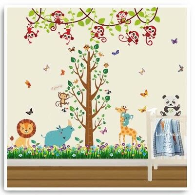 Animal Wall Stickers Monkey Owl Jungle Zoo Tree Nursery Baby Kids Room Decal Art • 17.99£