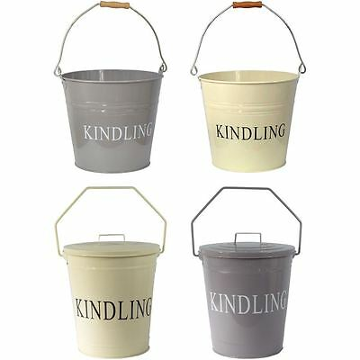 Kindling Bucket Grey Cream With Lid Fireplace Coal Wood Metal Scuttle Storage • 11.90£