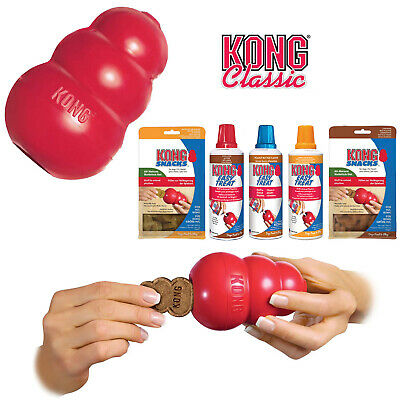 KONG Classic Red Dog Toy Teething Chew Snack Easy Treat Dispenser Paste Biscuit • 9.99£
