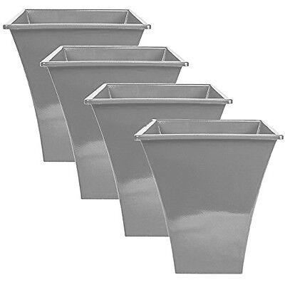 4 X Silver Large Plant Pots Planters Indoor Outdoor Garden Tall Plastic Planter • 20.99£
