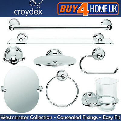 Croydex Westminster Chrome Wall Mounted Bathroom Accessories - Concealed Fixings • 10.49£
