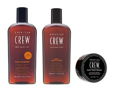 £30.49 • Buy American Crew Daily Shampoo 450ml, Conditioner 450ml And Heavy Hold Pomade 85g