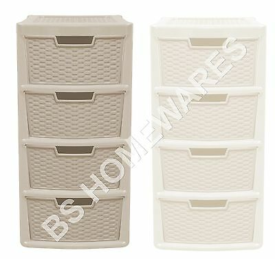 New Plastic Storage Drawer Unit Cabinet 3/4Tier Organizer Bedroom Office Drawers • 23.96£
