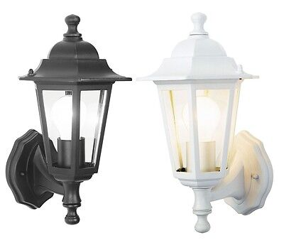 Outdoor Wall Lantern Outside Light Security Black Or White 6 Sided Exterior Lamp • 12.45£