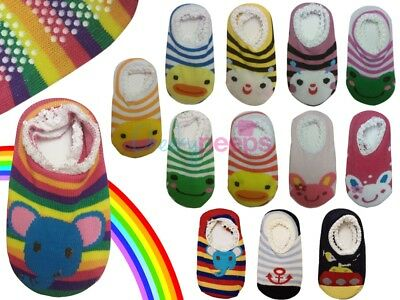 Baby Boy/Girl Toddler Anti-Slip/Skid Socks Grip Slippers 12-24 Months Rainbow • 1.89£
